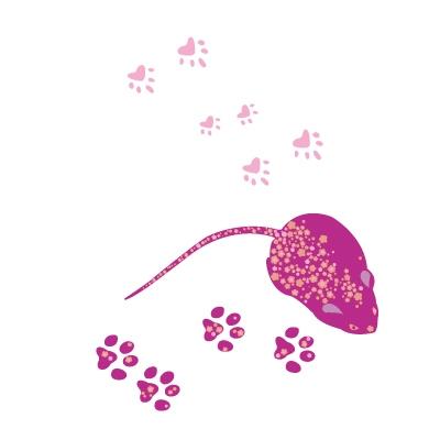 Stickers Léa la petite souris et ses traces de pas - Rose Fushia