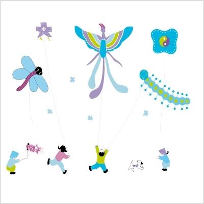 Stickers L'envol des cerfs volants - Décor adhésif 2
