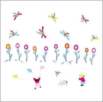 Stickers La chasse aux libelulles - Décor adhésif 1