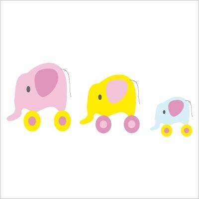 Stickers La famille éléphant Décor jaune