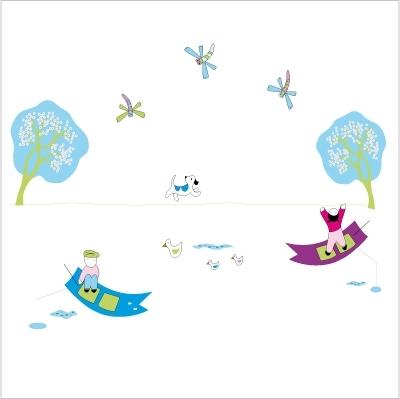 Stickers La mare aux libelulles - Décor adhésif 1