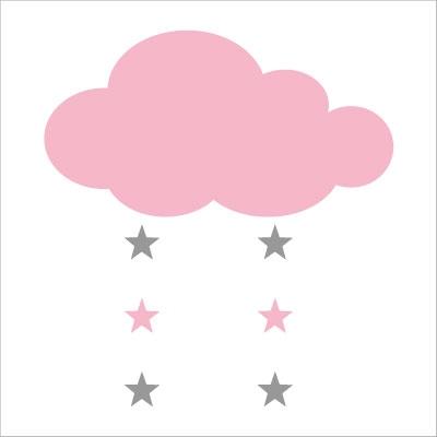 Stickers nuage et étoiles rose pale et gris