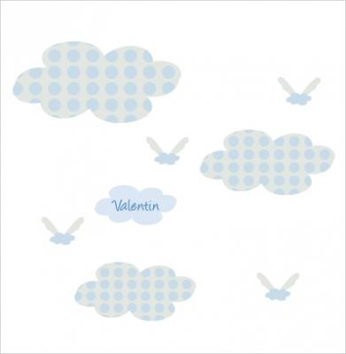 Stickers Nuages à pois bleus