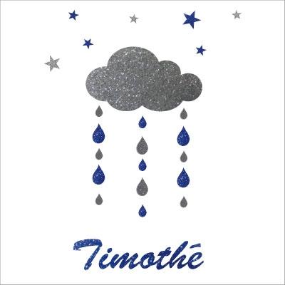 Stickers nuages  gouttes et etoiles argent et bleu