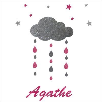 Stickers nuages  gouttes et etoiles argent et rose personnalisable