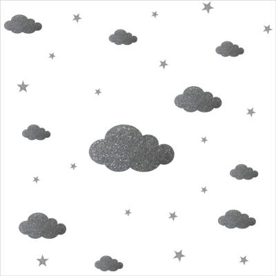 STICKERS PAILLETE SISSI nuages et etoiles argent personnali | Lili ...