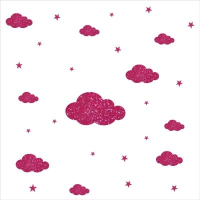Stickers nuages et etoiles rose personnalisable