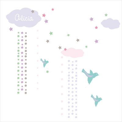 Stickers Nuages et pluie de fleurs | Lili Pouce : stickers ...