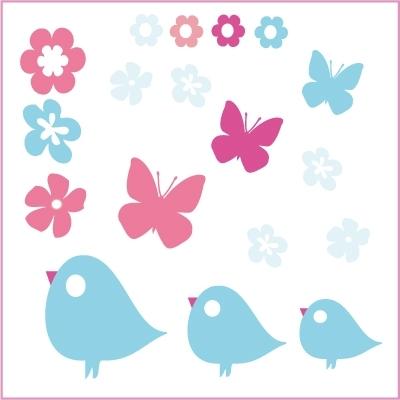 Stickers Oiseaux, fleurs et papillons