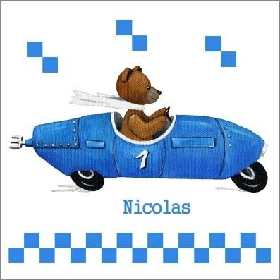 Stickers ours en voiture bleue