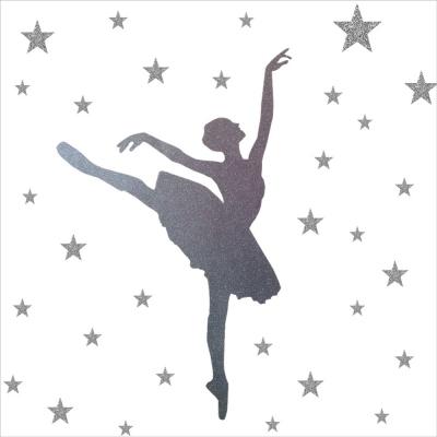 Stickers paillete danseuse et etoiles argent