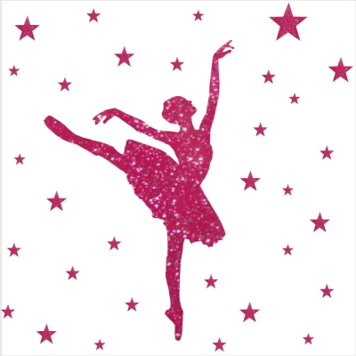 Stickers paillete danseuse et etoiles personnalisable