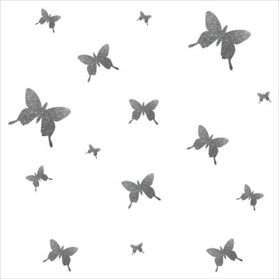Stickers papillons pailleté argent  personnalisable