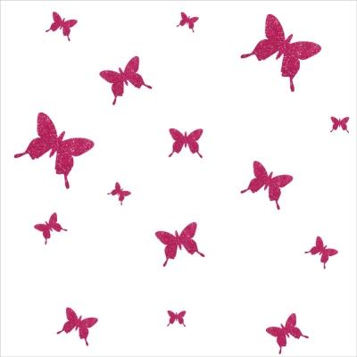Stickers papillons pailleté rose  personnalisable