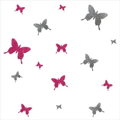 Stickers papillons pailleté rose et argent personnalisable