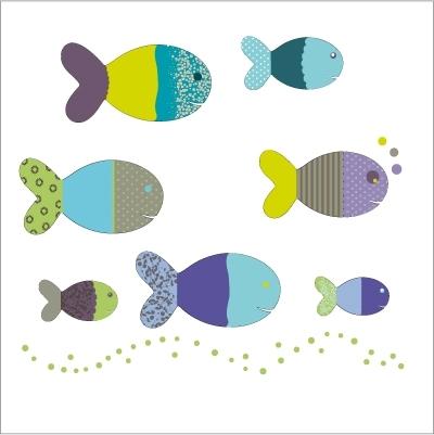 Stickers poissons bleus et verts