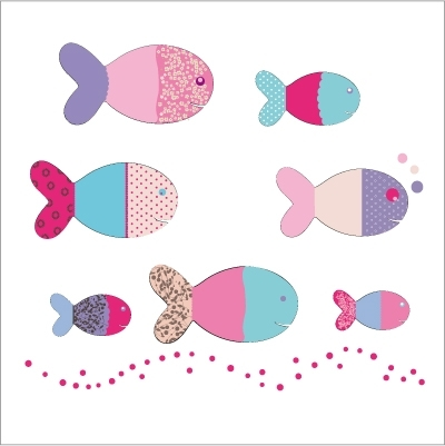 Stickers poissons roses