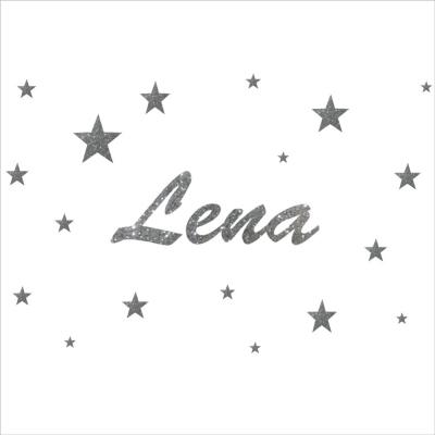 Stickers prénom et étoiles pailleté argent