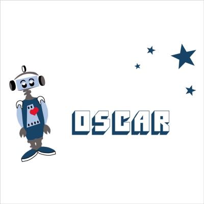 Stickers prénom robot Oscar