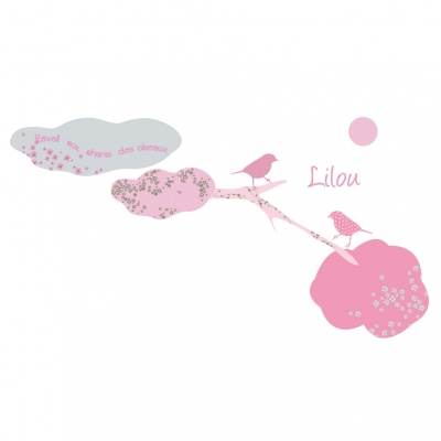 Stickers Réveil aux chants des oiseaux rose et gris