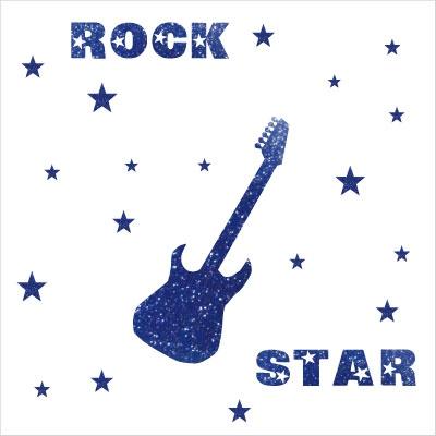 Stickers rock star pailleté bleu