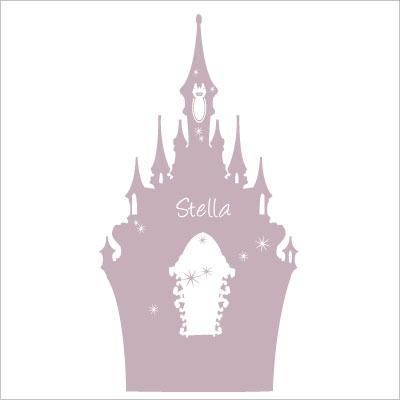 Stickers tête de lit le château enchanté personnalisable gris mauve