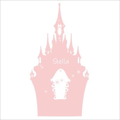 Stickers tête de lit le château enchanté personnalisable rose clair