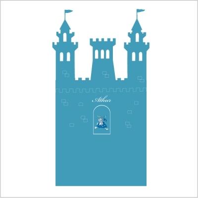 Stickers tête de lit le château fort personnalisable bleu canard