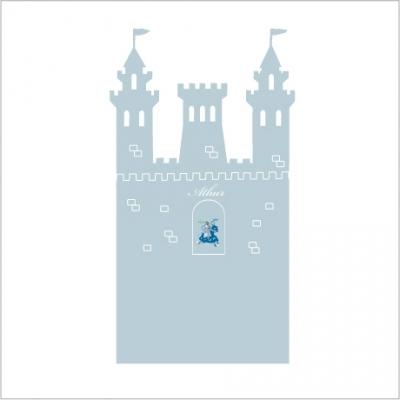 stickers t te de lit le ch teau fort personnalisable gris bleut lili pouce boutique d co. Black Bedroom Furniture Sets. Home Design Ideas