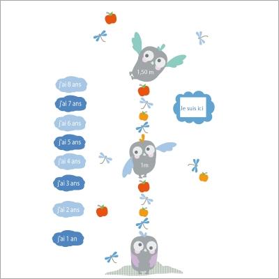 Stickers toise hiboux bleue lili pouce boutique d co for Toise chambre bebe
