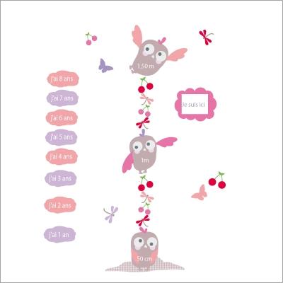 Stickers toise hiboux rose lili pouce boutique d co for Toise chambre bebe