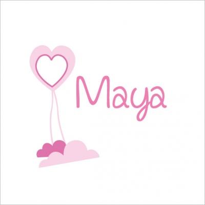 Stiker prénom Maya coeur