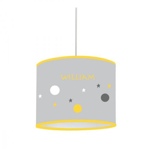 Suspension bulles et étoiles jaunes, grises et blanches