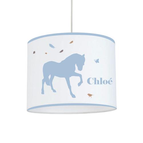 Suspension cheval plume bleu ciel personnalisable