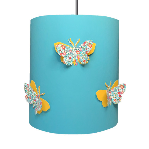 Suspension papillons 3D liberty Eloise bleu et jaune