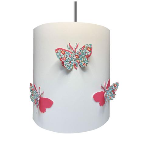 suspension papillons 3D liberty Eloise aile rose