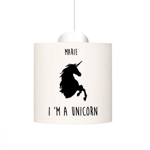 Suspension I'm a unicorn  noir personnalisable