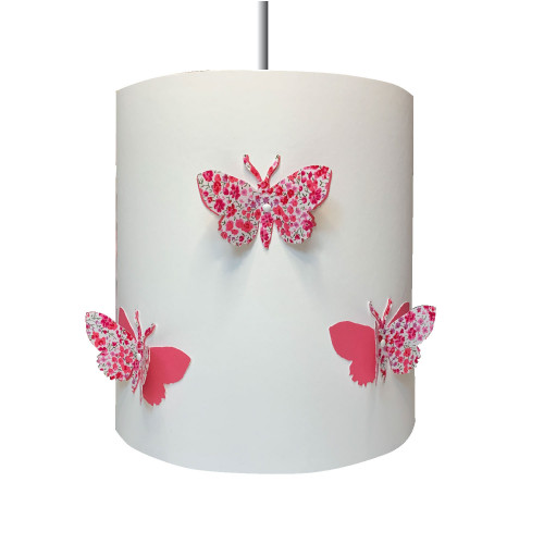 Suspension papillons 3D liberty Phoebe aile rose