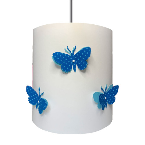 Suspension papillons 3D liberty Pois bleu clair aile bleu