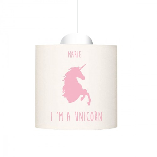 Suspension I'm a unicorn rose pale personnalisable