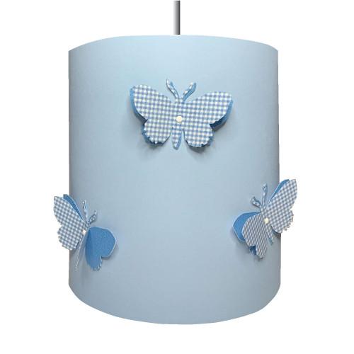 Suspension papillons 3D vichy bleu