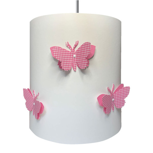 Suspension papillons 3D liberty vichy rose