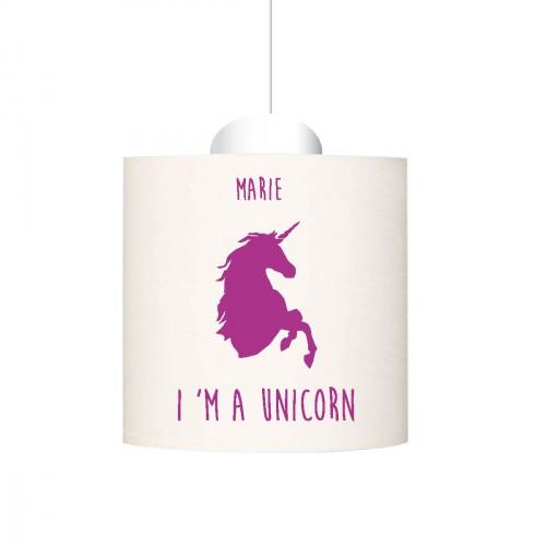 Suspension I'm a unicorn violet personnalisable