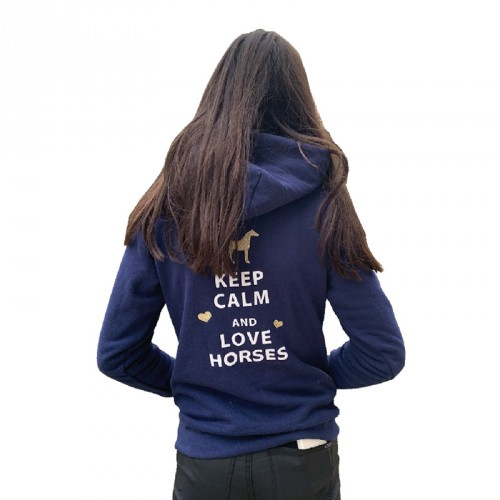Sweat à capuche Keep calm and love horses