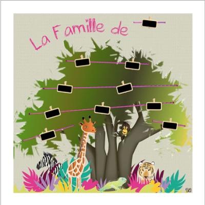 Tableau arbre généalogique Jungle Fille