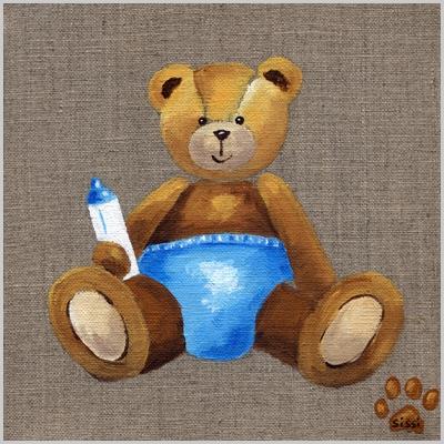 Tableau bébé ours bleu
