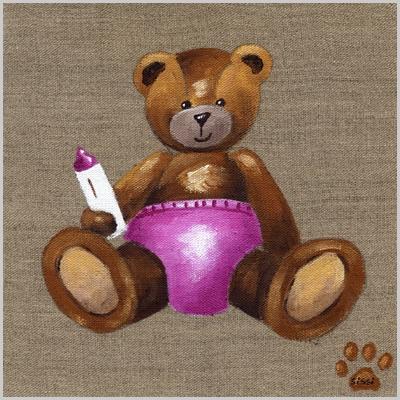 Tableau bébé ours rose