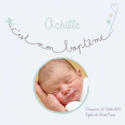 Tableau Baptême Achille personnalisable