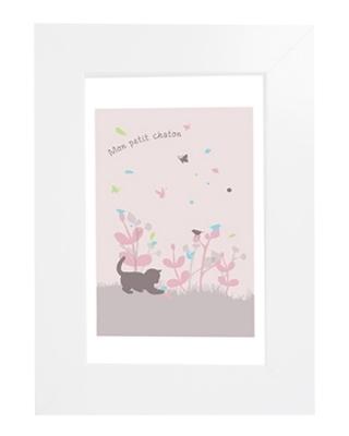 Tableau enfant encadré chaton rose