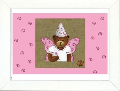 Tableau enfant encadré fée papillon rose clair
